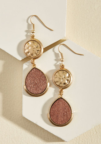 When the Chic Drops Earrings - Brown, Gold, Party, Cocktail, Girls Night Out, Winter, Good, Gold