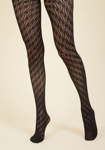 Refined Recognition Tights - Black, Geometric, Party, Work, Casual, Girls Night Out, Mod, Fall, Winter, Good, Black, Black