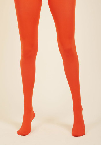 Accent Your Ensemble Tights in Persimmon - Knit, Red, Solid, Casual, Statement, Fall, Winter, Variation, Red, Saturated