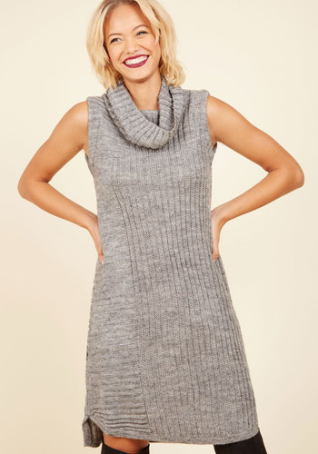 A Lodge for Words Sweater Dress - Grey, Solid, Casual, Sweater Dress, Bodycon / Bandage, Sleeveless, Fall, Knit, Better, Mid-length, Turtleneck