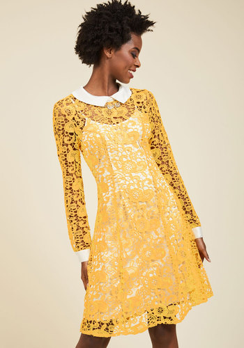 Collar ID Lace Dress in Yellow by ModCloth - Yellow, Solid, Daytime Party, Shift, Lace, Best, Exclusives, Collared, Wedding Guest, Fall, Woven, Mid-length, Work, Vintage Inspired, 60s, Eyelet, Long Sleeve, ModCloth Label, Lace, Sheer