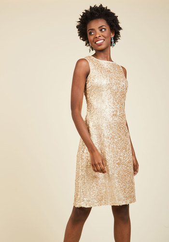 A Love of Luxury Sequin Dress - Gold, Solid, Sequins, Special Occasion, Cocktail, Wedding Guest, Sheath, Sleeveless, Knit, Best, Scoop, Holiday Party