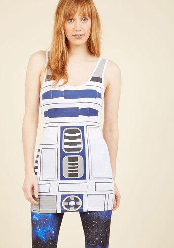 You R2 Cute Mini Dress - White, Grey, Novelty Print, Print, Casual, Quirky, Nifty Nerd, Sheath, Sleeveless, Spring, Summer, Fall, Winter, Knit, Better, Sci-fi, Short, Cosmic