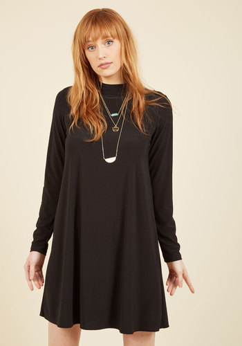 Justified Blitheness Shift Dress - Black, Solid, Work, Casual, LBD, Shift, Long Sleeve, Spring, Summer, Fall, Winter, Good, Knit, Mid-length