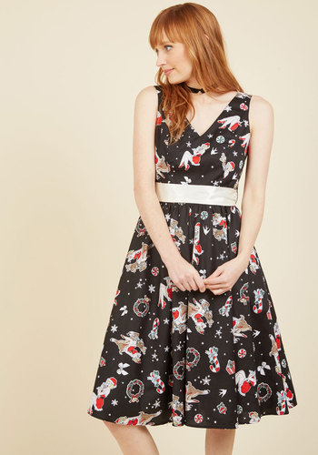 Santa Baby One More Time A-Line Dress in Black