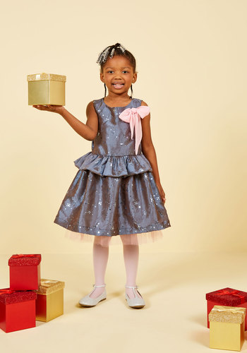 Twinkle Like Tinsel Dress - 2T-8Y by Who's Little? - Grey, Lavender, Pink, Bows, Sequins, Holiday, Darling, Tank top (2 thick straps), Holiday Gifts, Under 100 Gifts
