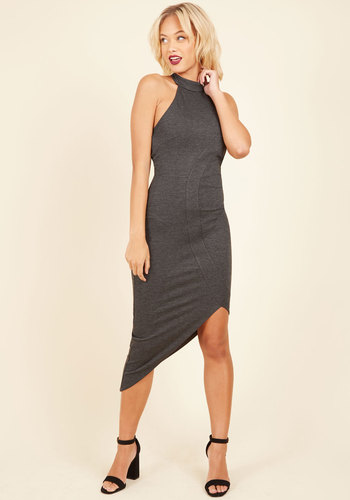 My Guardian Angle Sheath Dress - Grey, Solid, Sheath, Sleeveless, Fall, Winter, Knit, Better, Long, Party, Cocktail, Girls Night Out, Minimal, Halter, Halter, Tis the Season Sale