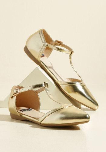 1920s Style Shoes Turn Back Prime Flat in Gilded $34.99 AT vintagedancer.com