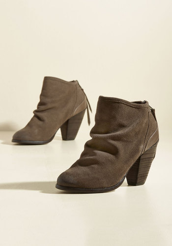 Twist of Gait Suede Booties in Taupe