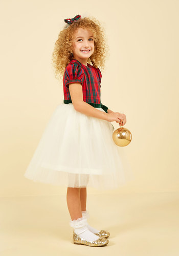 Plaid to Be Here Dress - 2T-8Y by Who's Little? - White, Red, Green, Plaid, Print, Belted, Special Occasion, Party, Holiday Party, Fit & Flare, Short Sleeves, Winter, Mid-length, Knee Length, Knee, Woven, Best, Exclusives, Saturated, Holiday Gifts, Under 75 Gifts, Under 100 Gifts