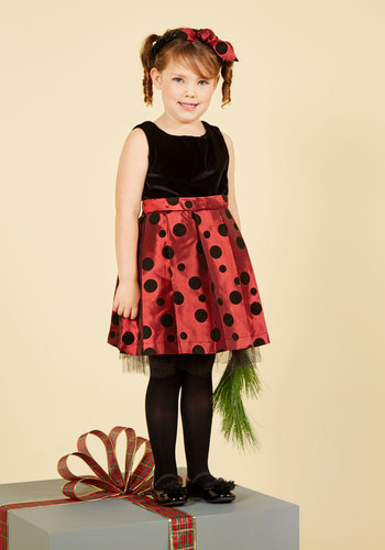 Isabella's Festival of Delights Dress - 2T-8Y by Who's Little? - Woven, Red, Black, Polka Dots, Print, Belted, Special Occasion, Party, Holiday Party, Fit & Flare, Sleeveless, Winter, Mid-length, Knee Length, Knee, Best, Exclusives, Saturated, Holiday Gifts, Under 100 Gifts