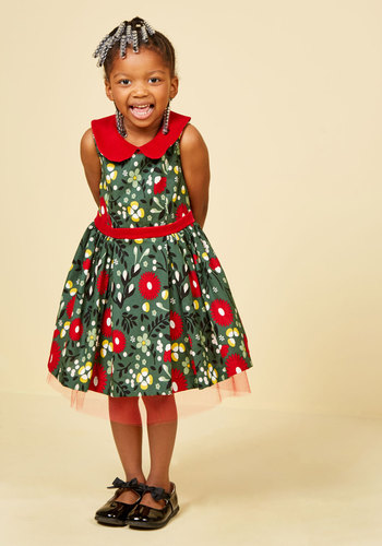 Siena's Fa La La Lovely Dress - 2T-8Y by Who's Little? - Green, Red, Floral, Print, Special Occasion, Party, Holiday Party, Fit & Flare, Sleeveless, Winter, Knee Length, Knee, Cotton, Woven, Best, Exclusives, Private Label, Collared, Saturated, Peter Pan Collar, Holiday Gifts, Under 75 Gifts, Under 100 Gifts