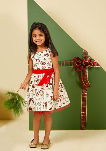 So Fauna the Holidays Dress - 2T-8Y by Who's Little? - Cotton, White, Red, Print with Animals, Novelty Print, Print, Belted, Special Occasion, Party, Holiday Party, Fit & Flare, Sleeveless, Winter, Mid-length, Knee Length, Knee, Woven, Better, Exclusives, White, Holiday Gifts, Under 100 Gifts