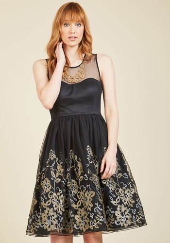 Moments of Magnificence Fit and Flare Dress - Woven, Black, Gold, Solid, Embroidery, Special Occasion, Party, Cocktail, Holiday Party, Vintage Inspired, 50s, Luxe, Statement, Fit & Flare, Sleeveless, Fall, Winter, Floral, Buttons, Prom, Valentine's, Homecoming, Wedding Guest, A-line, Ballerina / Tutu, Short, Knee Length, Sheer, Tulle, Best, Sweetheart, Scoop