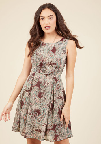 I Rest My Grace A-Line Dress in Earthy Paisley