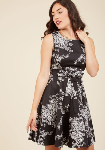Girl Meets Twirl A-Line Dress in Noir Blossom - Floral, Belted, Fit & Flare, Sleeveless, Woven, Better, Scoop, Mid-length, Black, Print, Daytime Party