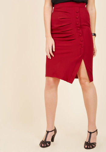 1950s Rockabilly Dresses A Trip Into Town Pencil Skirt in Cherry $39.99 AT vintagedancer.com