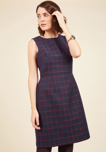 Expert Introductions Sheath Dress - Blue, Red, Checkered / Gingham, Party, Work, A-line, Sleeveless, Exceptional, Scoop, Fall, Woven