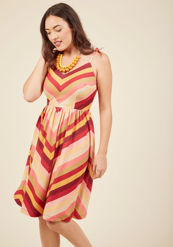My Sunday Zest A-Line Dress in Warm Tones by ModCloth - Long, ModCloth Label, Fall, Red, Stripes, Chevron, Work, Casual, Sundress, Vintage Inspired, 70s, Sleeveless, V Neck, Yellow, Print, Beach/Resort, Boho, A-line, Winter, Woven, Best, Exclusives, Variation, Private Label, Saturated, Yellow, Tis the Season Sale