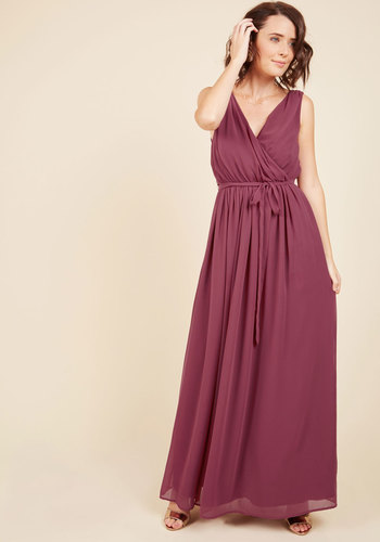 Terrace Time-Out Maxi Dress in Wine by ModCloth - Red, Solid, Wedding, Party, Cocktail, Bridesmaid, Homecoming, Wedding Guest, Maxi, Wrap, Sleeveless, Fall, Winter, Woven, Best, Exclusives, V Neck, Store 1, Holiday Party, ModCloth Label, Prom, Vintage Inspired, 70s, Long, Saturated, Belted, Special Occasion, Spring, Summer