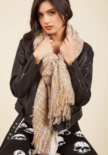 Cozy Does It Scarf in Khaki - Blue, Cream, Work, Casual, Fall, Better