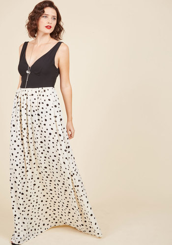 Nights of Fancy Maxi Dress in Dots - Long, Black, White, Polka Dots, Special Occasion, Party, Holiday Party, Wedding Guest, Vintage Inspired, 20s, 70s, Maxi, Twofer, Sleeveless, Exclusives, V Neck, Cream, Print, Backless, Daytime Party, Sundress, Spring, Summer, Fall, Winter, Woven, Better