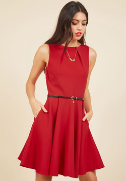 Luck Be A Lady A-Line Dress in Red