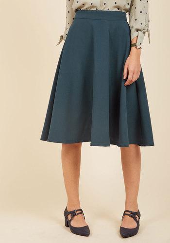 1940s Style Skirts Bugle Joy A-Line Skirt in Lake $54.99 AT vintagedancer.com