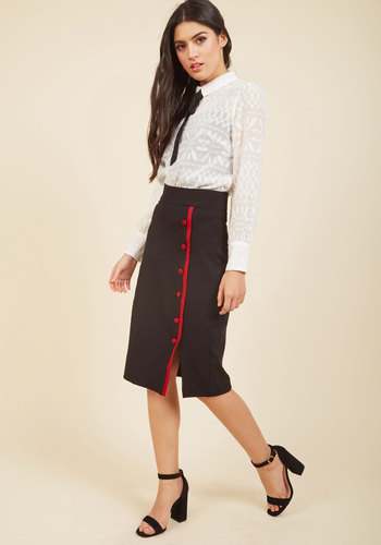 Retro Skirts: Vintage, Pencil, Circle, & Plus Sizes Weekly Write-Up Pencil Skirt in Black $59.99 AT vintagedancer.com