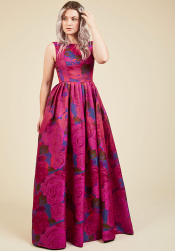 Vespertine Vow Maxi Dress by Adrianna Papell - Red, Pink, Floral, Print, Pleats, Special Occasion, Maxi, Fit & Flare, Sleeveless, Spring, Summer, Fall, Winter, Woven, Exceptional, Scoop, Luxe Gifts, Holiday Party, Pockets, Saturated