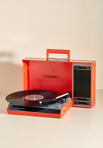 Needle in a Play-stack Turntable - Red, Dorm Decor, Music, Travel, Mid-Century, Best, 60s, Top Rated, Red, Solid, Party, Daytime Party, Vintage Inspired, Gals, Guys, Record Players
