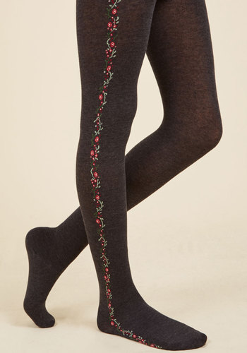 What Has Passed Is Path Tights - Grey, Red, Floral, Print, Casual, Fall, Winter, Best