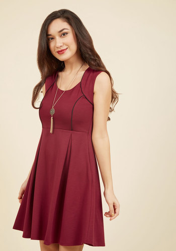 Talking 'Bout My Delegation A-Line Dress in Wine - Red, Work, Holiday Party, Nautical, Vintage Inspired, 40s, 50s, Americana, A-line, Sleeveless, Fall, Winter, Knit, Good, Exclusives, Mid-length