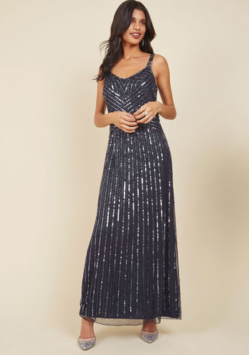 Glamourous Magnetism Maxi Dress - Knit, Blue, Solid, Sequins, Special Occasion, Prom, Party, Cocktail, Holiday Party, Wedding Guest, Luxe, A-line, Maxi, Sleeveless, Spaghetti Straps, Fall, Winter, Long, Exceptional, Silver, 20s