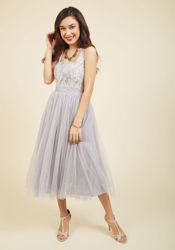 Tulle Time Midi Dress - Woven, Tulle, Grey, Lace, Prom, Party, Cocktail, A-line, Ballerina / Tutu, Spring, Summer, Fall, Winter, Best, Scoop, Lace, Holiday Party, Pink, Solid, Special Occasion, Valentine's, Homecoming, Wedding Guest, Vintage Inspired, Luxe, Twofer, Midi, Tank top (2 thick straps), Tea