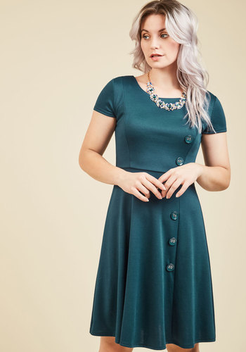 At-Home Entertainer A-Line Dress in Teal - Green, Solid, Work, Daytime Party, A-line, Short Sleeves, Fall, Winter, Knit, Better, Exclusives, Mid-length