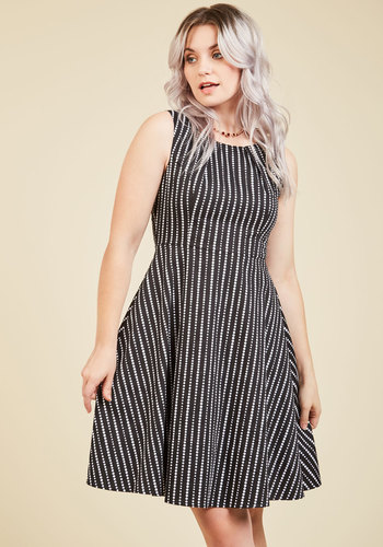 The Staff of Dreams A-Line Dress - Black, White, Stripes, Work, Casual, A-line, Sleeveless, Fall, Winter, Better, Woven, Mid-length, Polka Dots, Vintage Inspired, 50s, Scoop, Black