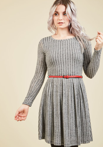 The Knit Factor Sweater Dress - Grey, Solid, Work, Casual, Americana, Sweater Dress, Long Sleeve, Fall, Winter, Knit, Better, Exclusives, Mid-length