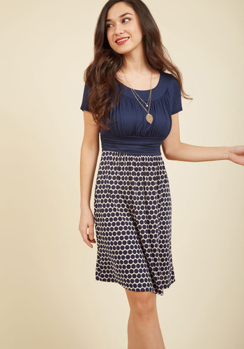 Style Obsession Jersey Dress in Navy Dots - Blue, Polka Dots, Work, Casual, Americana, Twofer, Short Sleeves, Fall, Winter, Good, Exclusives, Mid-length, White, Print, Ruching, Nautical, Spring, Summer, Knit, Scoop