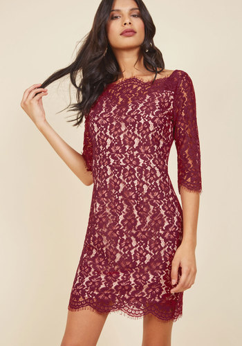 Vogue in Vienna Lace Dress in Wine - Lace, Red, Tan / Cream, Solid, Girls Night Out, Holiday Party, Bodycon / Bandage, 3/4 Sleeve, Fall, Winter, Better, Boat, Lace, Special Occasion, Party, Cocktail, Vintage Inspired, 80s, 90s, Luxe, Statement, Short, Woven, Saturated, Scallops, Wedding Guest