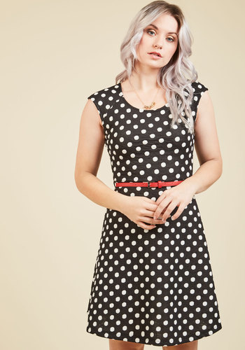 About That Life Polka Dot Dress - Black, Polka Dots, Print, Work, Casual, Nautical, Boho, Pinup, Vintage Inspired, 50s, 60s, Americana, A-line, Cap Sleeves, Spring, Summer, Fall, Winter, Woven, Good, Mid-length