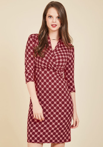 Tile and Again Knit Dress in Burgundy - Red, Print, Geometric, Work, Casual, Americana, Sheath, 3/4 Sleeve, Spring, Summer, Fall, Winter, Woven, Good, Mid-length