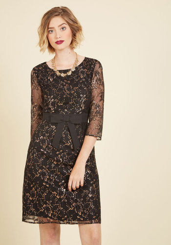 Defined to Refine Lace Dress in Black - Black, Gold, Bows, Special Occasion, Party, Cocktail, Holiday Party, Wedding Guest, Shift, 3/4 Sleeve, Fall, Winter, Lace, Best, Exclusives, Scoop, Sparkly2015, Woven, Mid-length, LBD, Solid, Lace, Girls Night Out, Graduation, Valentine's, Homecoming, Vintage Inspired, Luxe, Statement