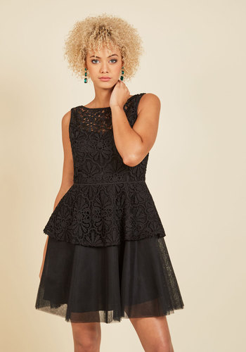 Famed to Fascinate A-Line Dress by Adrianna Papell - Black, Solid, Crochet, Special Occasion, Prom, Party, Cocktail, Homecoming, Wedding Guest, Fit & Flare, Sleeveless, Fall, Winter, Woven, Lace, Tulle, Exceptional, Scoop, LBD, Lace, Holiday Party, Valentine's, Vintage Inspired, 80s, Luxe, A-line, Ballerina / Tutu, Peplum, Short, Sheer