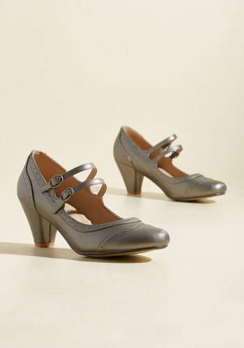 1920s Style Shoes To Shoe It May Concern Heel in Pewter $49.99 AT vintagedancer.com