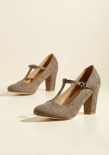 1920s Style Shoes Spellbinding Stroll Heel in Taupe $49.99 AT vintagedancer.com