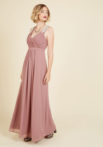Affluent in Allure Maxi Dress - Purple, Solid, Beads, Pleats, Special Occasion, Party, Wedding Guest, Maxi, Sleeveless, Fall, Winter, Woven, Exclusives, V Neck, Long, Holiday Party, Pink, Ruching, Prom, Wedding, Bridesmaid, Vintage Inspired, 20s, Luxe, A-line, Spring, Summer, Chiffon, Best