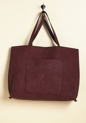 Totes Awesome Revesible Bag in Plum & Black - Red, Work, Casual, Scholastic/Collegiate, Fall, Better