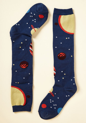 Planet of Action Socks - Blue, Red, Yellow, Novelty Print, Casual, Quirky, Nifty Nerd, Fall, Winter, Better, Blue, Saturated