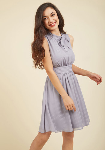Sunny City A-Line Dress in Moon by ModCloth - Grey, Solid, Work, A-line, Sleeveless, Fall, Woven, Better, Exclusives, Private Label, Mid-length, Pockets, Homecoming, ModCloth Label